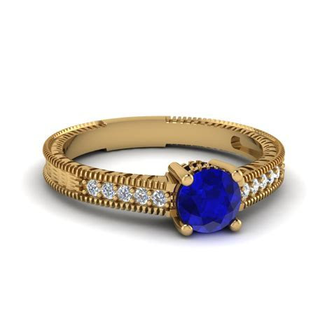 Milgrain Pave Sapphire Engagement Ring In 14K Yellow Gold