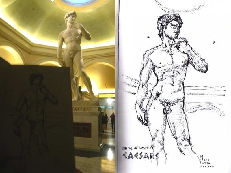 MJ SKETCHBOOK | Urban Sketching - Las Vegas Caesars Palace Forum Shop David Statue
