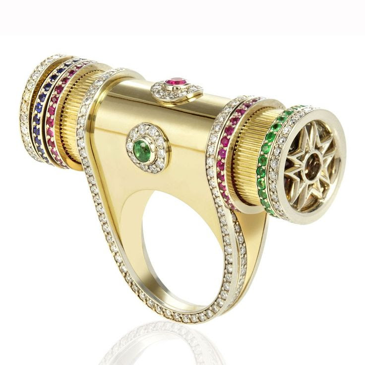 Fully functioning Kaleidoscope ring with rubies, sapphires and emeralds inside that move when you turn it.