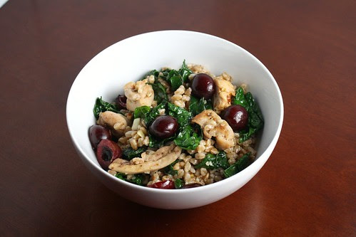 Spicy Farro Salad with Kale, Chicken, and Cherries