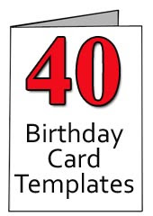 40th Birthday Greeting Card Templates for Word