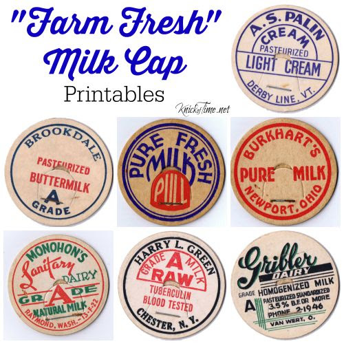 farm fresh milk cap printables - KnickofTime.net