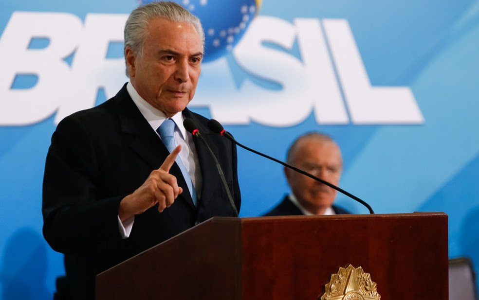 O presidente Michel Temer, durante evento no Planalto nesta quarta (31) (Foto: Marcos Corrêa/PR)