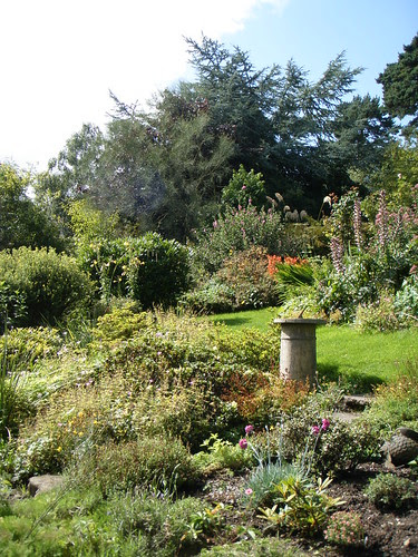 sundial and view up the garden