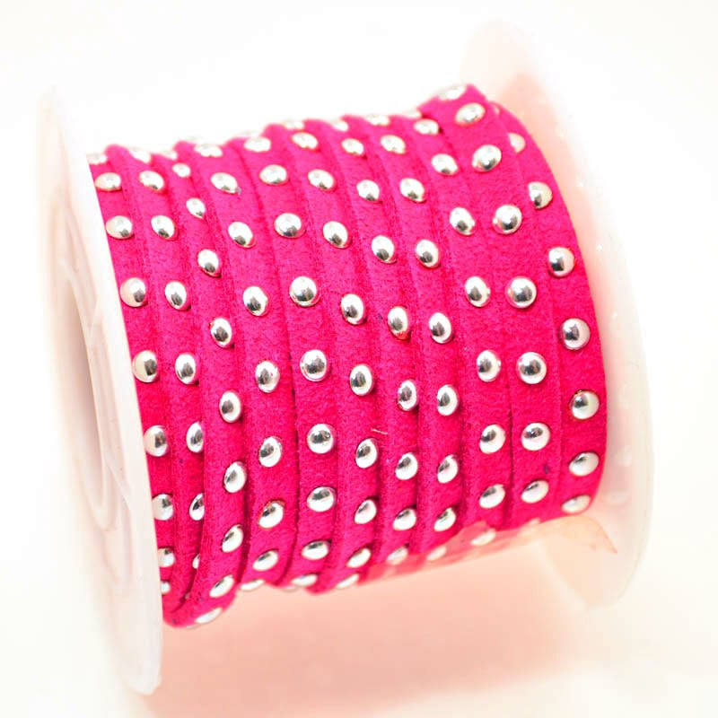 s45518 Leather - 5 mm Studded Flat Suede - Cactus Fuchsia (Inch)