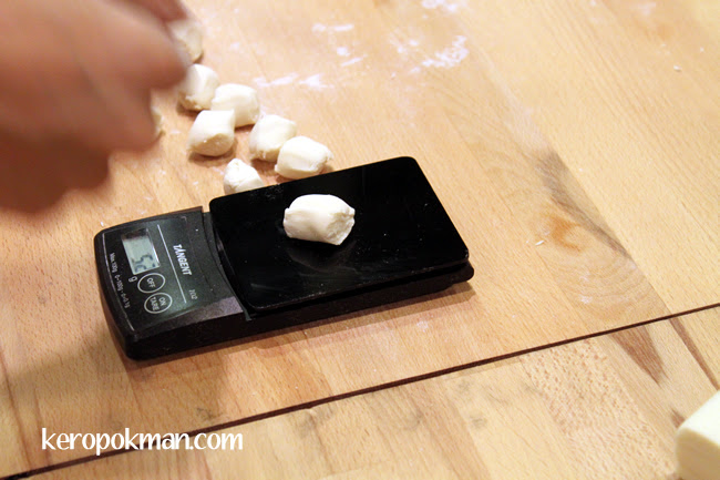 Weighing the dough