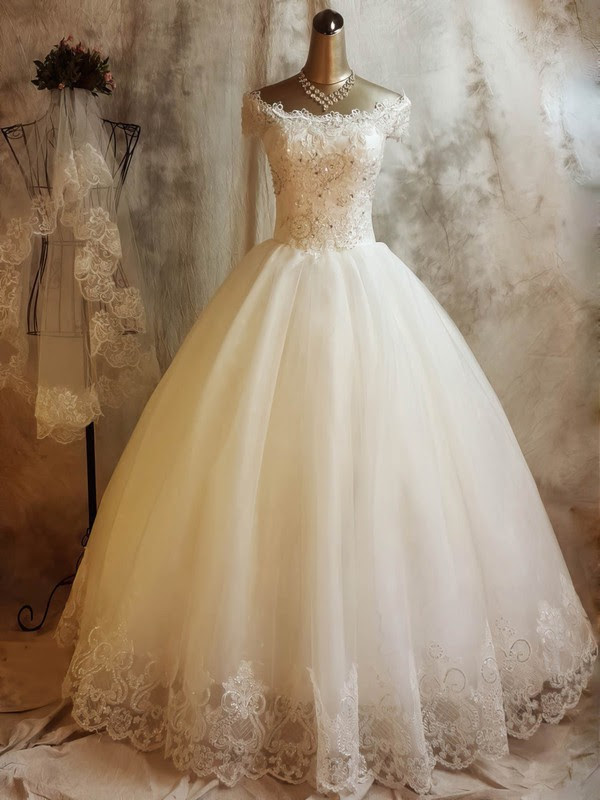 Tulle Off-the-shoulder Ball Gown Floor-length with Beading Wedding Dresses #UKM00023068