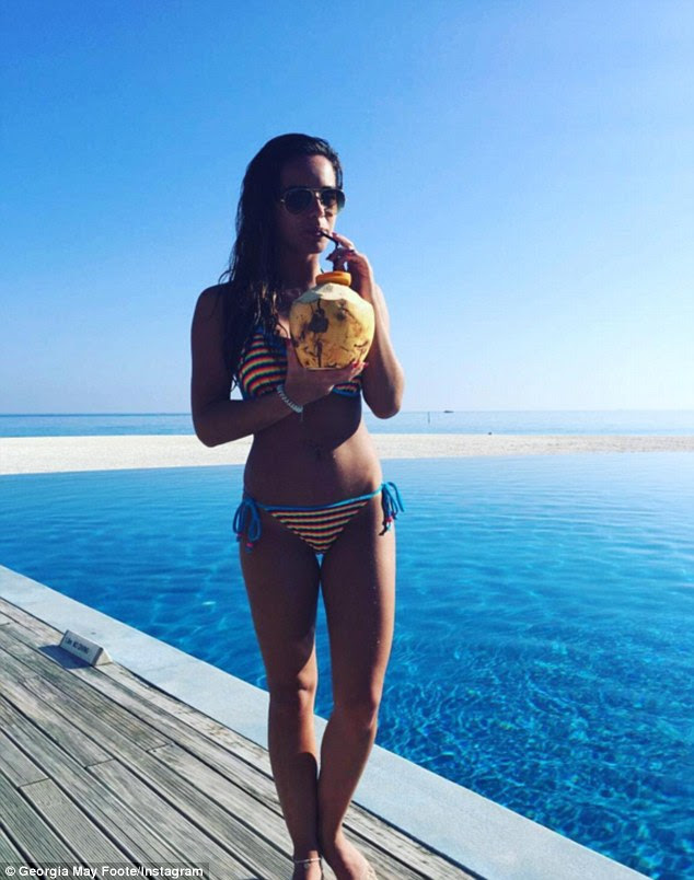 Beach babe!Georgia May Foote, 25, treated her 431,000 Instagram followers to yet another glimpse into her Maldives getaway as she slipped into a skimpy bikini whilst posing by the pool on Friday