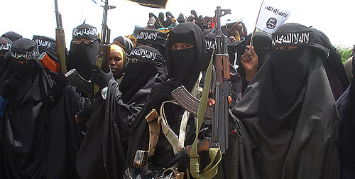 Women from the Al-Shabab Islamic resistance movement hold a demonstration in the Somalian capital of Mogadishu. The country is a contested zone between US-backed TFG and AMISOM forces and the supporters of Al-Shabab. by Pan-African News Wire File Photos