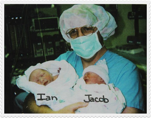 Keith with newborn Ian and Jacob