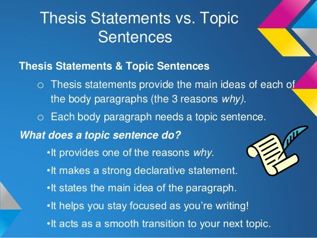 thesis statement and topic sentence example
