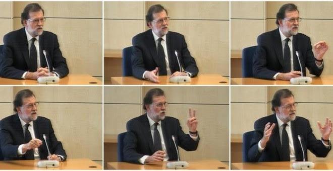 Imágenes capturadas de la señal de vídeo institucional que muestran al presidente del Gobierno, Mariano Rajoy, durante su declaración. /EFE