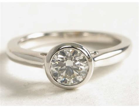 Bezel Set Solitaire Engagement Ring in 14k White Gold in