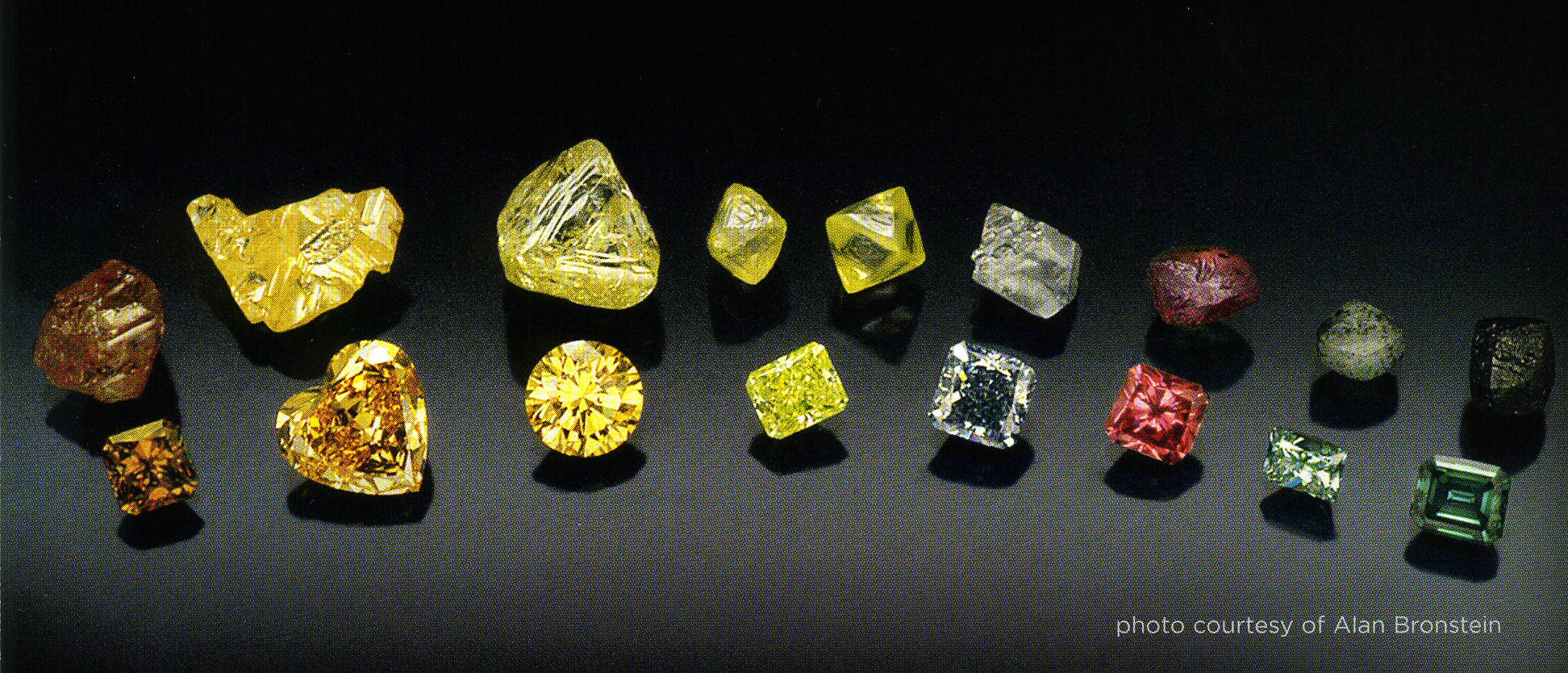 Natural color diamonds fancy color and rough diamond crystals