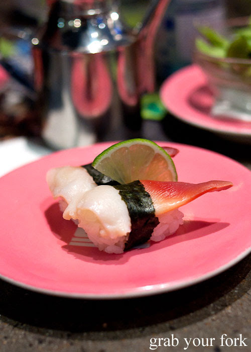 Surf clam sushi at Umi Kaiten-Zushi