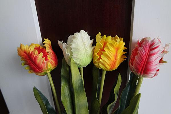 2017 51cm Single Artificial Parrot Tulip Real Touch Tulips For Home\/Wedding\/Party Decoration