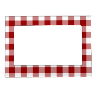 Red and White Gingham Pattern Picture Frame Magnet