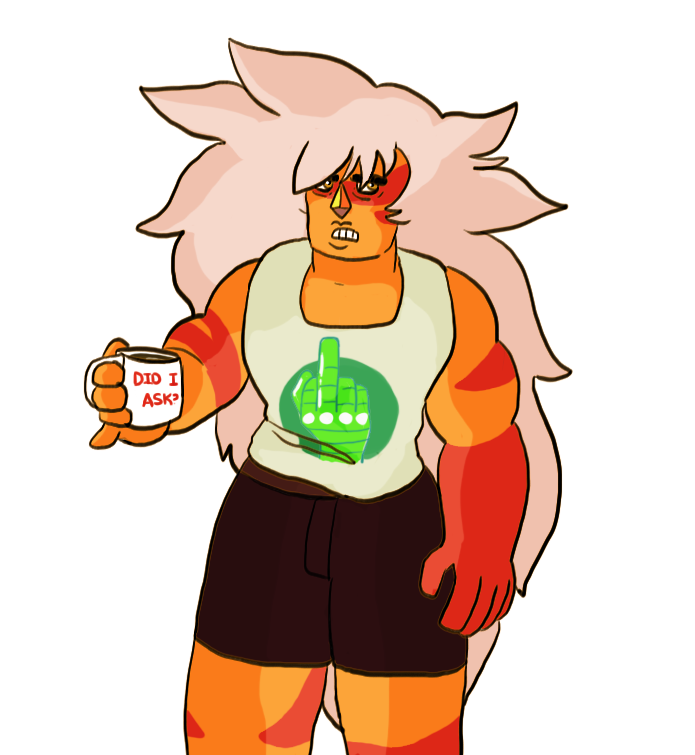 Mood she drinks diesel fuel out of the coffee cup