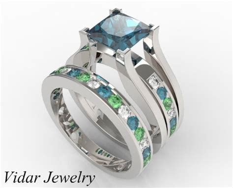 Multicolor Bridal Ring Set With White, Blue & Green