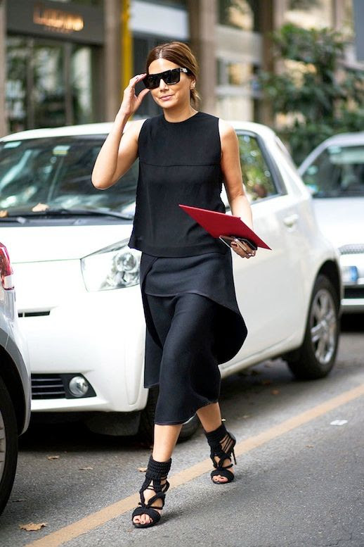 Le Fashion Blog Street Style Editor Style Christine Centenary All Black Look Cat Eye Sunglasses Sleeveless Shell Top Layered Silk Midi Skirt Braided Strappy Sandals Via Harpers Bazaar