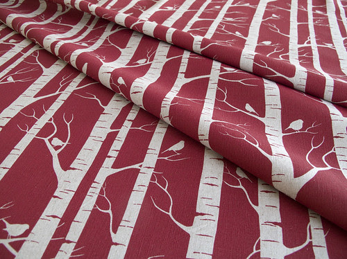 small birch in deep red