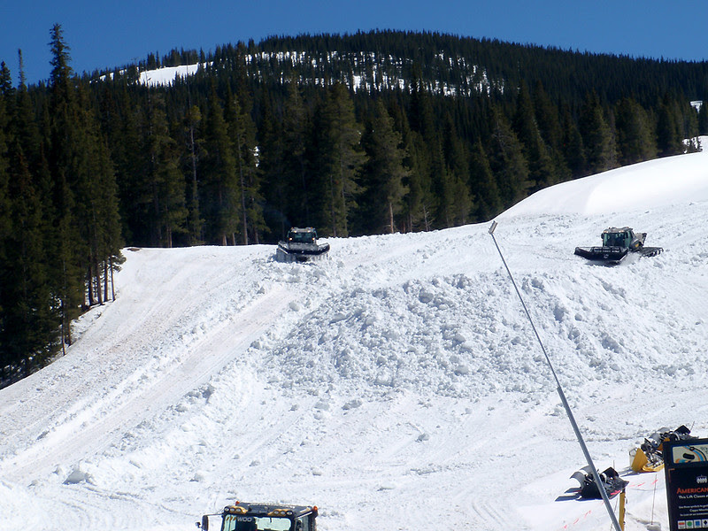 Arranging snow for Copper Mountains closing weekend festivities.