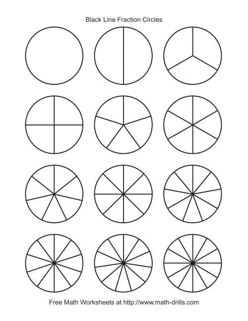 Blackline Fraction Circles -- Small Unlabeled Fractions Worksheet