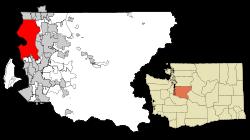 Localización de Seattle en el Condado de King y en el Estado de Washington