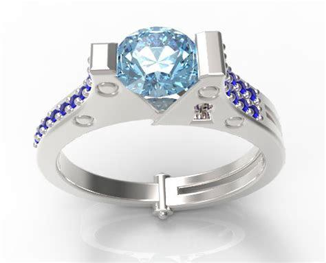 Handcuff Engagement Ring Unique Aquamarine And Sapphire