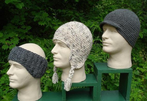 Crochet Pattern PDF - 'Snow Sports' Caps for Men - PM-101