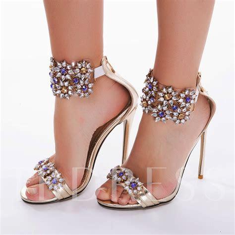 Fancy Rhinestone Stiletto Heel Sandals Women's Wedding