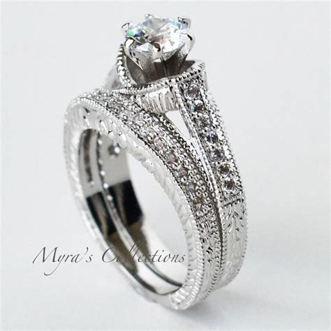 1.95CT VINTAGE FILIGREE BRIDAL WEDDING ENGAGEMENT RING