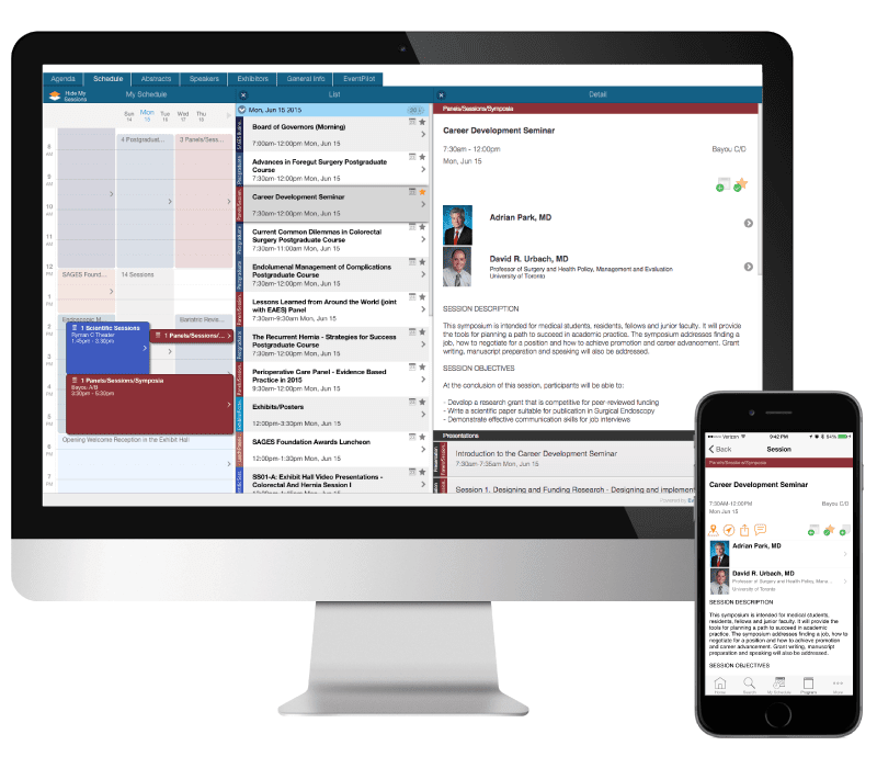 Online Planner with Visual Schedule for Conference App