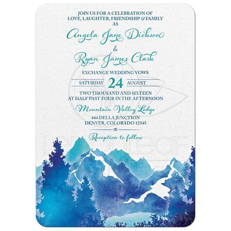 Mountain Wedding Invitation   Watercolor   Royal Blue