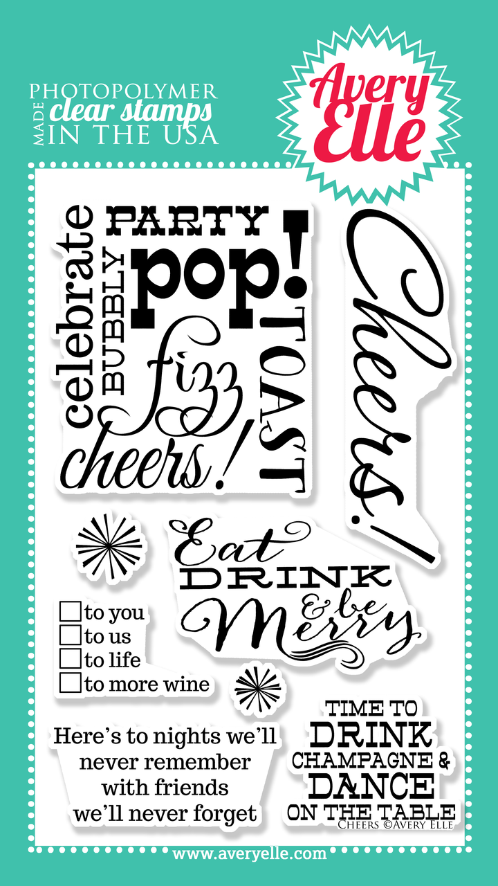 """Our 4"""" x 6"""" Cheers clear stamp set is exactly what you need to create a fun and festive gift tag or card.  Use this set and our coordinating Cheers Elle-ments Wine Tag steel die to create hostess gifts, Holiday presents, New Years,wedding gifts or just because."""