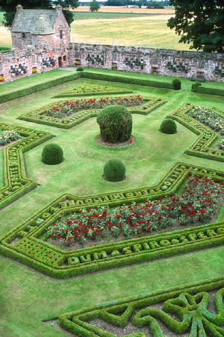 The recreated Italian Renaissance stylle Walled Garden at Edzell Castle, Perthshire, Scotland. Topiary balls with rose borders and latin text picked out in box hedging