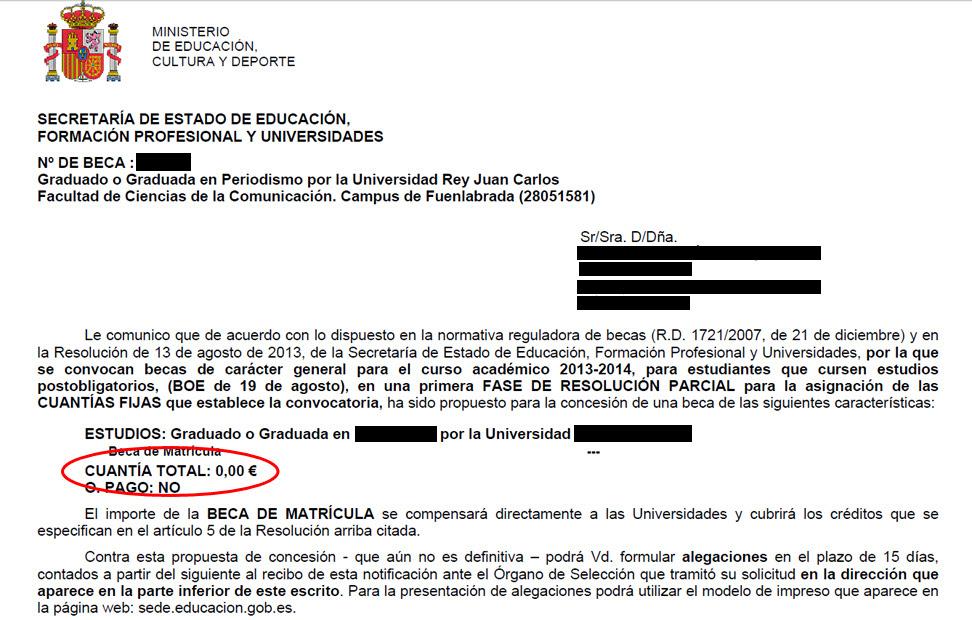 Detalle de una de las cartas del Ministerio de Educaciòn denegando la concesión de la beca.