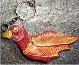 gantungan kunci kayu batik burung