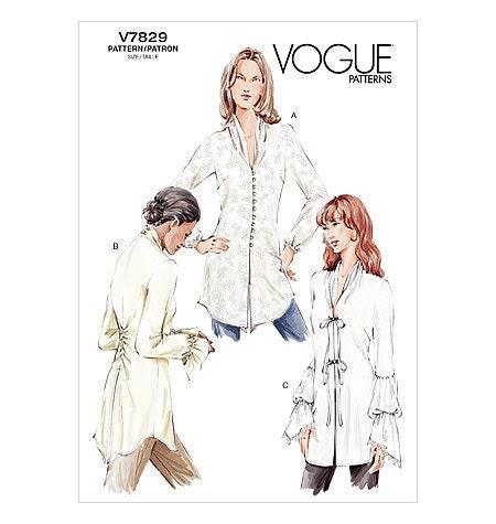 Vogue 7829 Misses Stylized Semi-fitted Blouse, Funnel Neckline, Soutache Loop Closure, Flounce Sleeve Option, Below Hip, UNCUT, Plus Size - PatternPriority