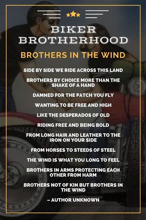 Brothers In The Wind ? Biker Brotherhood Poem   Mottos To