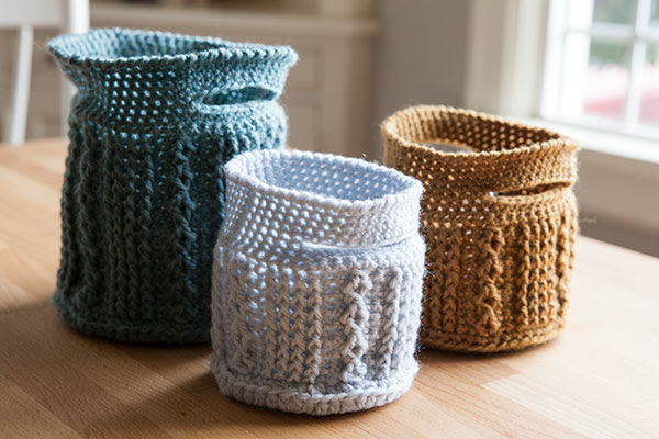 Crochet Cable Baskets Crochet Pattern