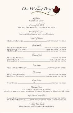 Wedding Program Templates Free      African Program