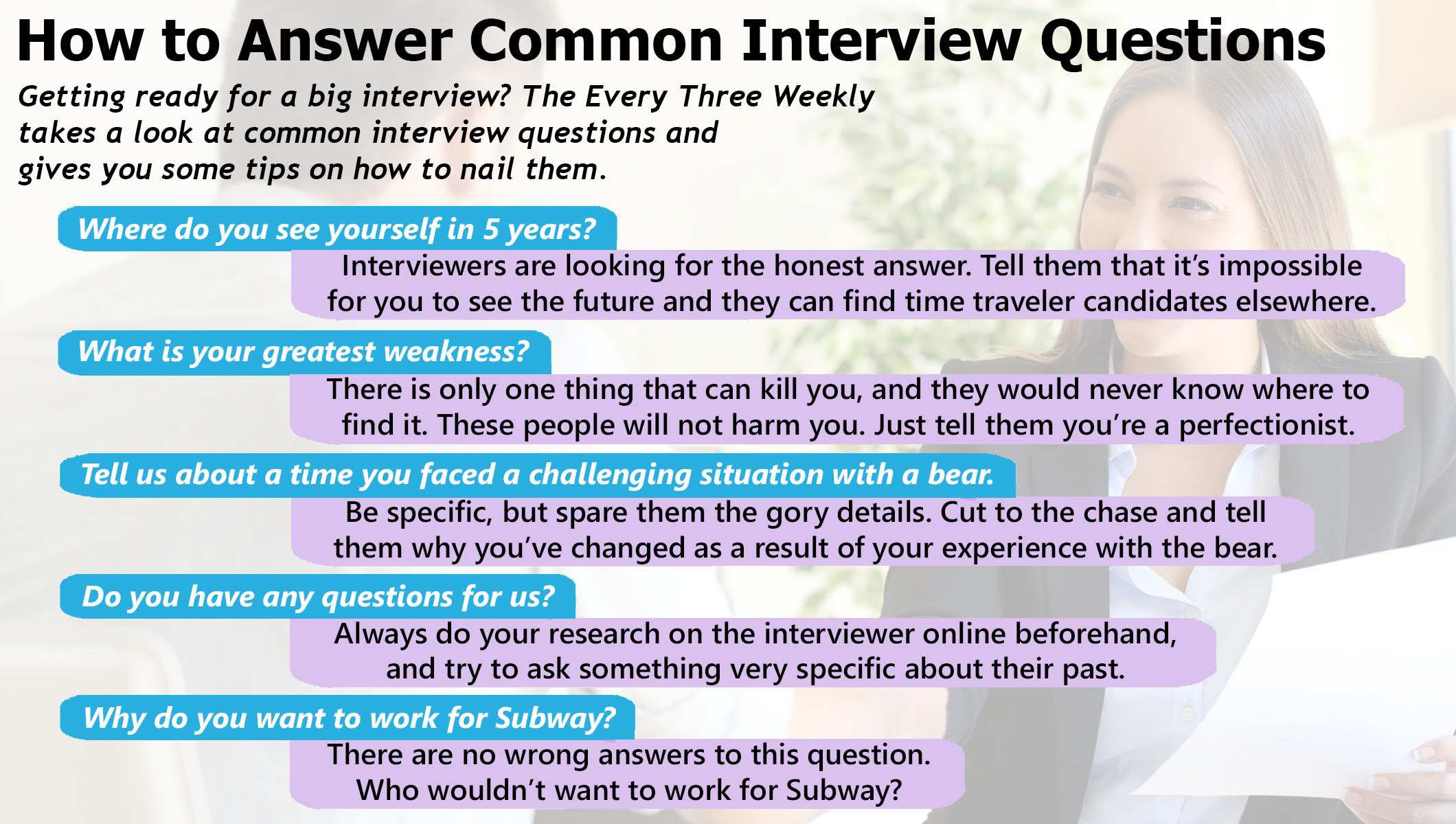 How To Answer Common Interview Questions | The Every Three ...