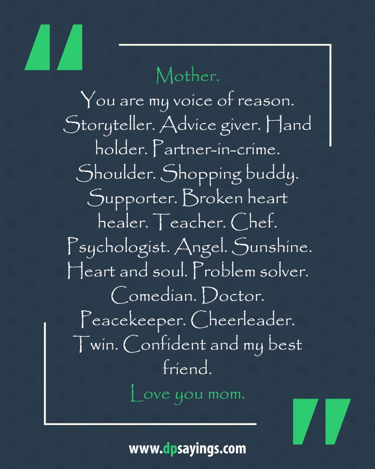 60 Excellent I Love You Mom Quotes And Sayings Dp Sayings