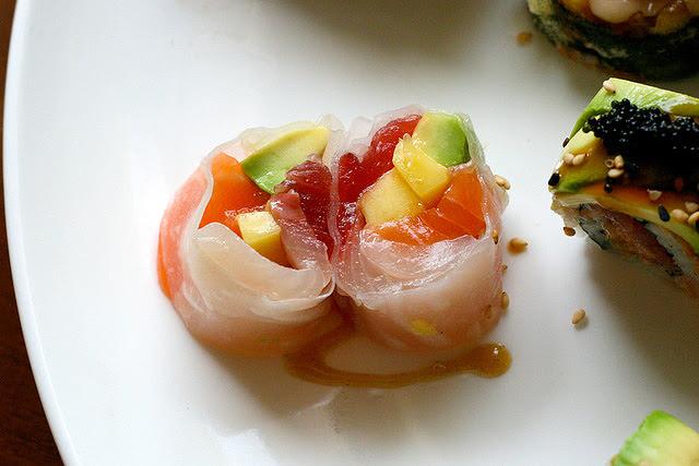 Riceless Maki - Mango Sashimi with three kinds of fish