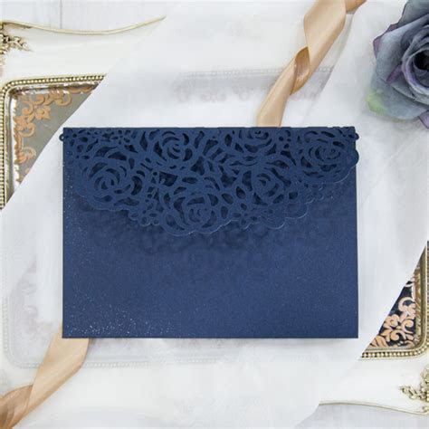 Beauty and the beast navy blue laser cut pocket wedding