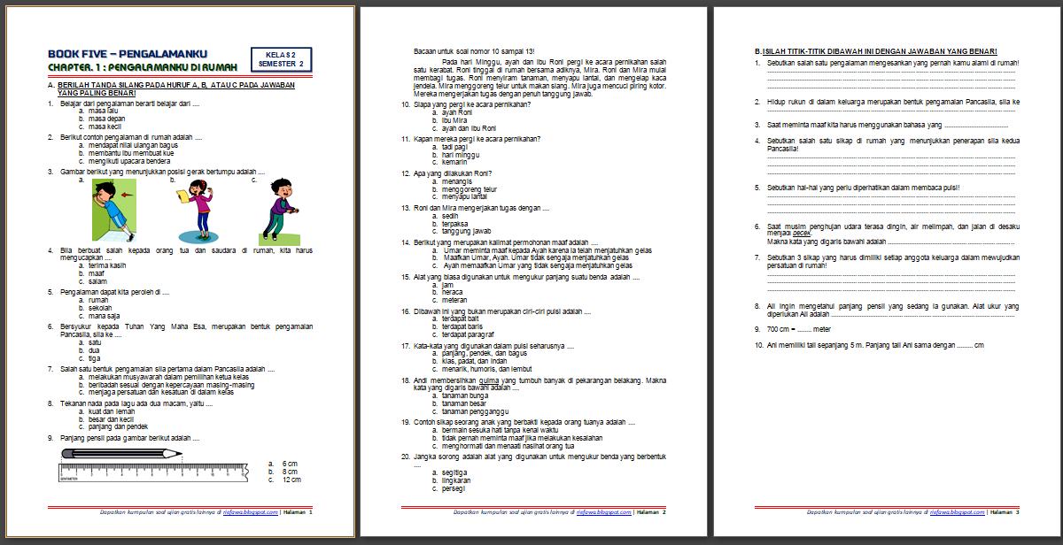 Soal Ukk Tematik Kelas 2 Tema 5 Dan Kunci…