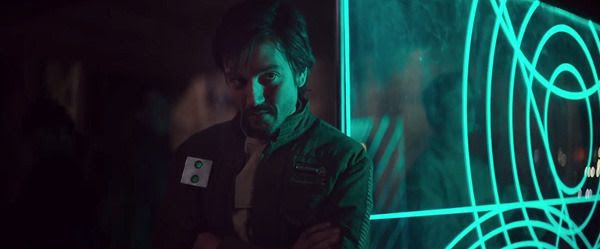 A Rebel officer (Diego Luna) listens in on Jyn Erso's interrogation in ROGUE ONE: A STAR WARS STORY.