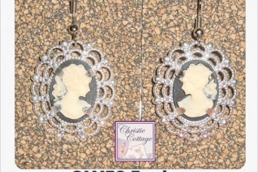Cameo Earrings Silver Pierced Dangle Lovely Lady