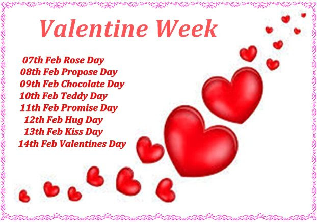 Valentine Week List 2019 Dates Schedule Full List 7th 14th February